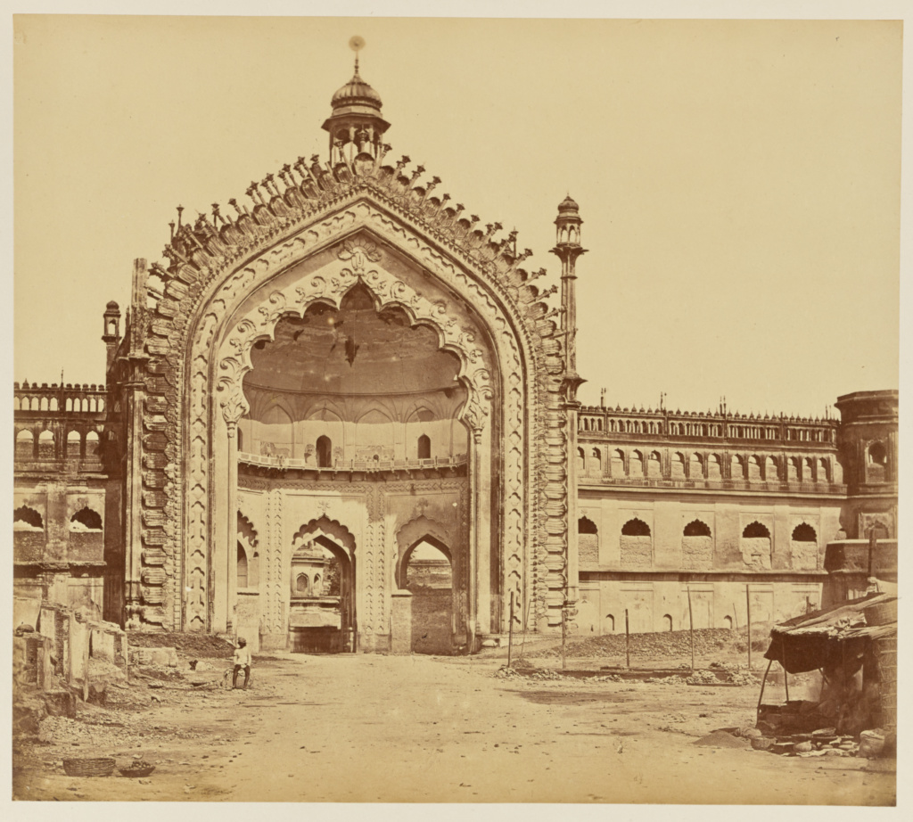 [The Rounee Dunvaya or Gateway of Constantinople, Lucknow]; Felice Beato (English, born Italy, 1832 - 1909); India; 1858; Albumen silver print; 26.1 × 29.4 cm (10 1/4 × 11 9/16 in.); 84.XO.1168.19; The J. Paul Getty Museum, Los Angeles; Rights Statement: No Copyright - United States