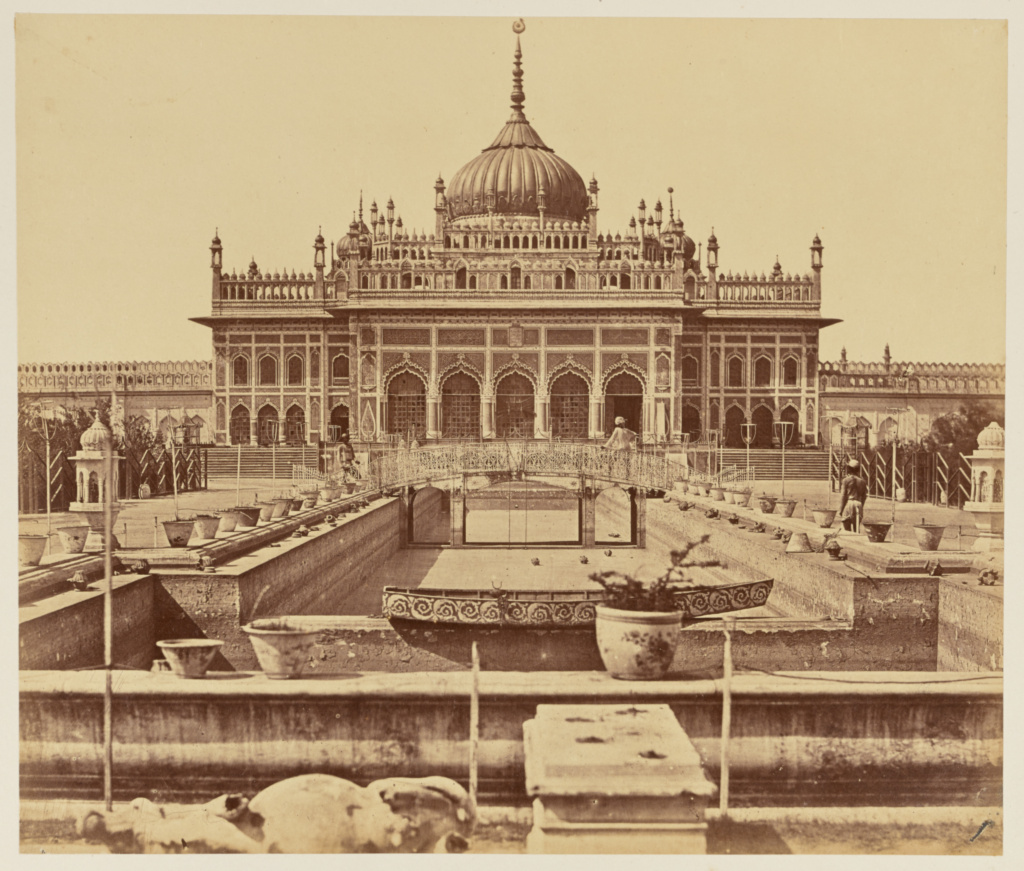 [The Hosainabad Emambara and Tomb of Mahomed Ali Khan, Lucknow]; Felice Beato (English, born Italy, 1832 - 1909); India; 1858; Albumen silver print; 25 × 29.3 cm (9 7/8 × 11 1/2 in.); 84.XO.1168.20; The J. Paul Getty Museum, Los Angeles; Rights Statement: No Copyright - United States