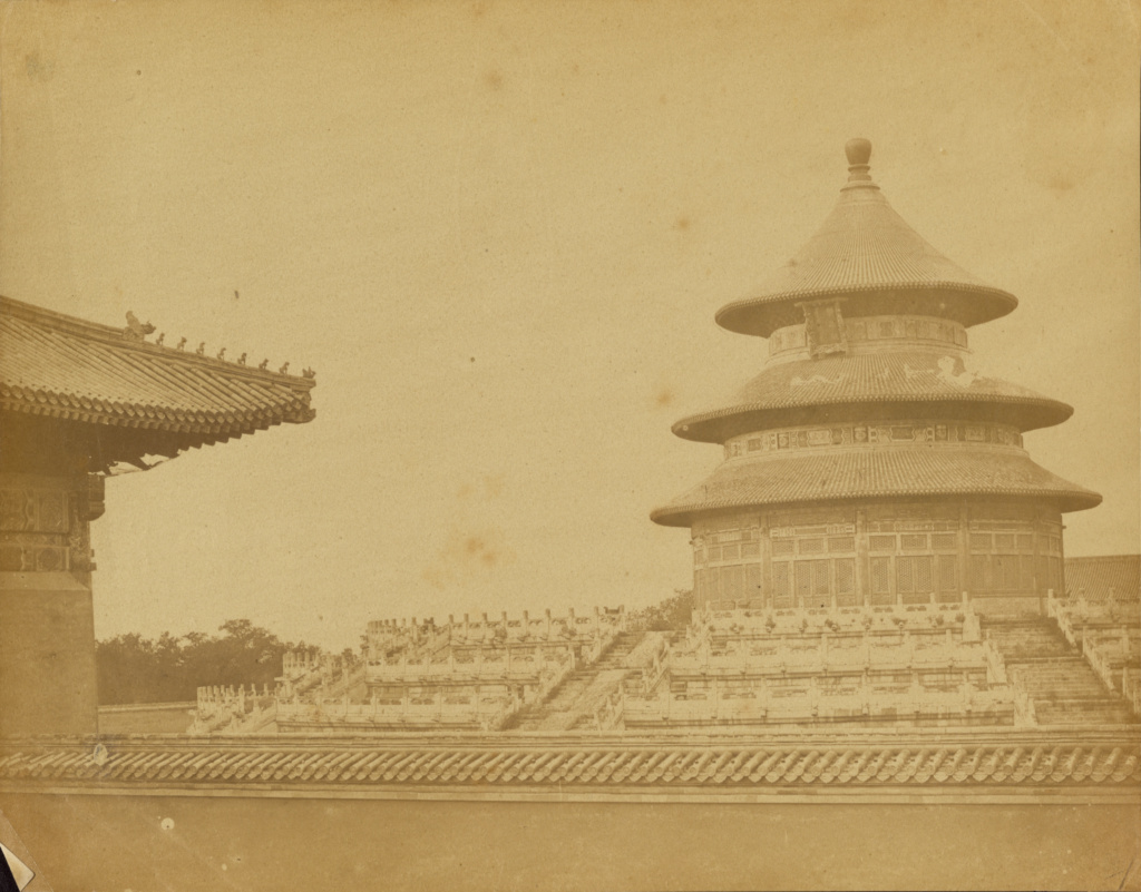 [Temple of Heaven, Pekin]; Felice Beato (English, born Italy, 1832 - 1909); China; 1860; Albumen silver print; 23 × 29.4 cm (9 1/16 × 11 5/8 in.); 84.XA.886.5.34; The J. Paul Getty Museum, Los Angeles; Rights Statement: No Copyright - United States