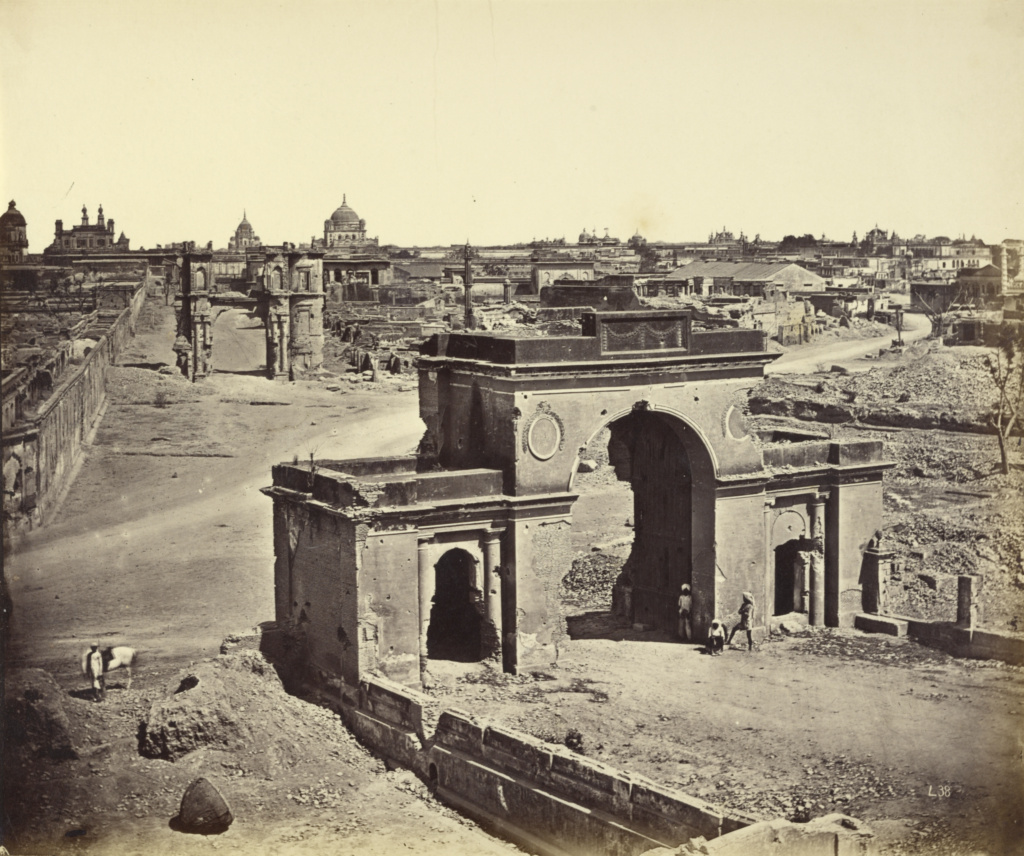 [Bailee Guard Gate, Taken from the Inside, Showing the Clock Tower]; Felice Beato (English, born Italy, 1832 - 1909), Henry Hering (British, 1814 - 1893); India; 1858–1862; Albumen silver print; 25.4 × 30.5 cm (10 × 12 in.); 84.XO.421.33; The J. Paul Getty Museum, Los Angeles; Rights Statement: No Copyright - United States