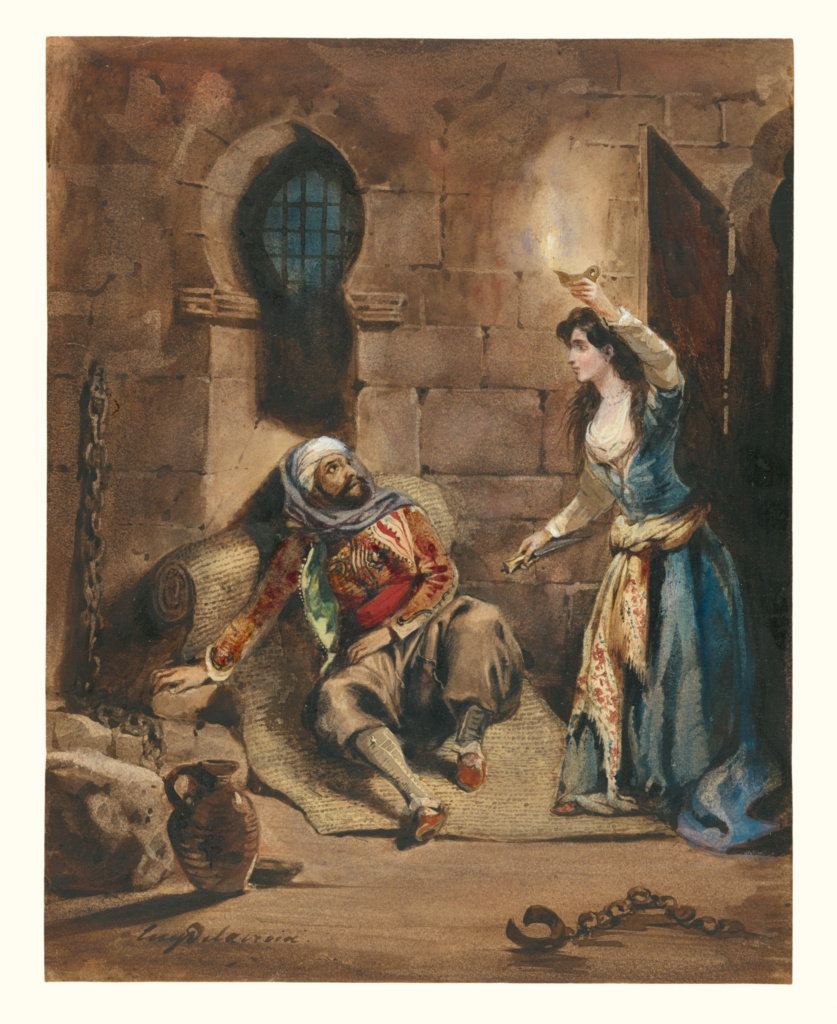 """Episode from """"The Corsair"""" by Lord Byron; Eugène Delacroix (French, 1798 - 1863); about 1831; Watercolor, brown ink, touches of gouache, over graphite underdrawing; 24.3 × 19.2 cm (9 9/16 × 7 9/16 in.); 97.GC.30; The J. Paul Getty Museum, Los Angeles; Rights Statement: No Copyright - United States"""