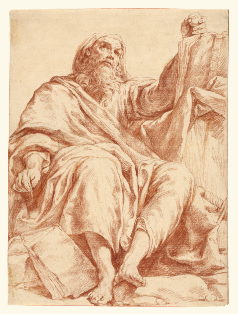 Saint Paul; Giuseppe Maria Crespi (Italian (Bolognese), 1665 - 1747); about 1720–1730; Red chalk over traces of black chalk. The figure's right hand drawn by the artist on a separate piece of paper and made up; 28.1 × 21.1 cm (11 1/16 × 8 5/16 in.); 97.GB.34; The J. Paul Getty Museum, Los Angeles; Rights Statement: No Copyright - United States