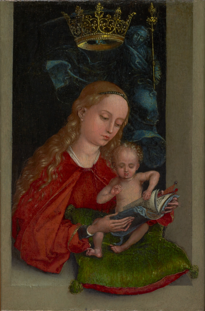 Madonna and Child in a Window; Martin Schongauer (German, about 1450/1453 - 1491); about 1485–1490; Oil on panel; 16.5 × 11 cm (6 1/2 × 4 5/16 in.); 97.PB.23; Rights Statement: No Copyright - United States