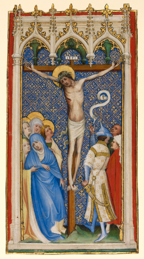 The Crucifixion; Master of St. Veronica (German, active about 1395 - 1415); Cologne, Germany; about 1400–1410; Tempera colors, gold paint, and gold leaf; Leaf: 23.7 × 12.4 cm (9 5/16 × 4 7/8 in.); Ms. Ludwig Folia 2, leaf 1 (83.MS.49.1.recto); The J. Paul Getty Museum, Los Angeles, Ms. Ludwig Folia 2, leaf 1; Rights Statement: No Copyright - United States