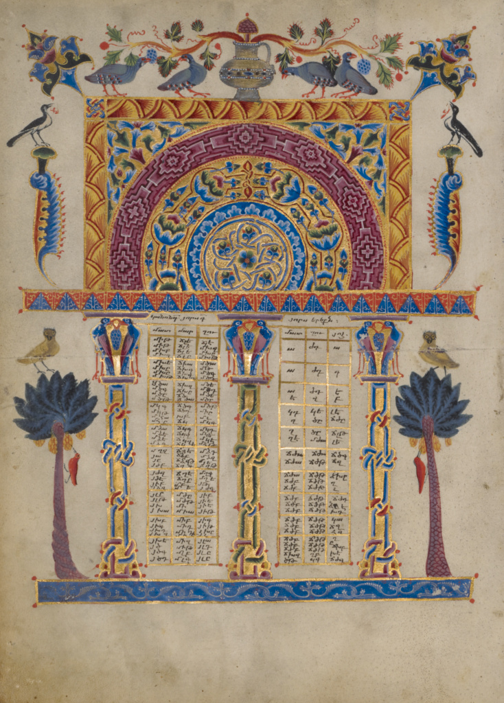 Canon tables from the Zeyt'un Gospels; T'oros Roslin (Armenian, active 1256 - 1268), T'oros Roslin (Armenian, active 1256 - 1268); 1256; Tempera colors, gold paint, and ink on parchment; Ms. 59 (94.MB.71); Gift of the Catholicosate of the Great House of Cilicia; Rights Statement: No Copyright - United States
