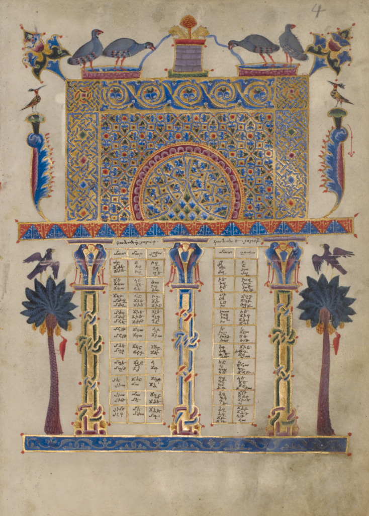 Canon Table Page; T'oros Roslin (Armenian, active 1256 - 1268), T'oros Roslin (Armenian, active 1256 - 1268); 1256; Tempera and gold paint on parchment; Leaf: 26.5 × 19 cm (10 7/16 × 7 1/2 in.); Ms. 59 (94.MB.71), fol. 4; Gift of the Catholicosate of the Great House of Cilicia; Rights Statement: No Copyright - United States