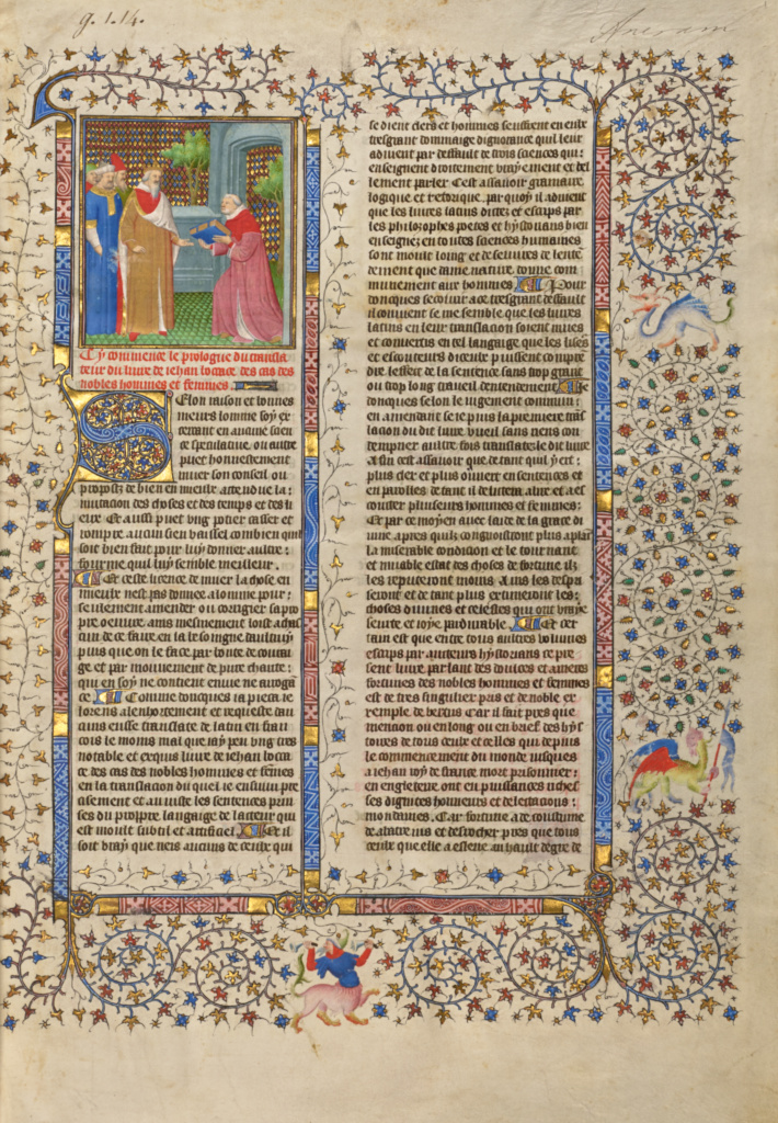 The Presentation of the Book to a King; Unknown; about 1413–1415; Tempera colors, gold leaf, gold paint, and ink on parchment; Leaf: 42 × 29.6 cm (16 9/16 × 11 5/8 in.); Ms. 63 (96.MR.17), fol. 1; Rights Statement: No Copyright - United States