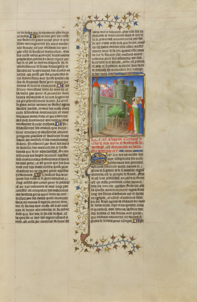 The Suicide of Queen Dido; Boucicaut Master or workshop (French, active about 1390 - 1430); Paris, France; about 1413–1415; Tempera colors, gold leaf, gold paint, and ink on parchment; Leaf: 42 × 29.6 cm (16 9/16 × 11 5/8 in.); Ms. 63 (96.MR.17), fol. 41; The J. Paul Getty Museum, Los Angeles, Ms. 63, fol. 41; Rights Statement: No Copyright - United States