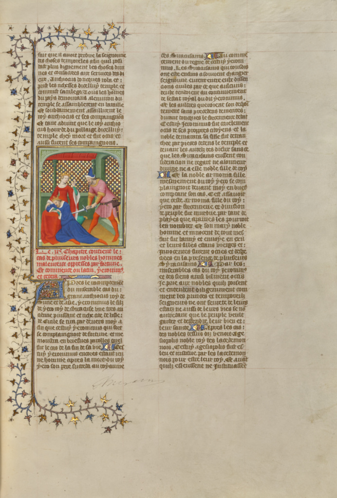 The Assassination of Hieronymus, King of Syracuse; Boucicaut Master or workshop (French, active about 1390 - 1430); Paris, France; about 1413–1415; Tempera colors, gold leaf, gold paint, and ink on parchment; Leaf: 42 × 29.6 cm (16 9/16 × 11 5/8 in.); Ms. 63 (96.MR.17), fol. 153; The J. Paul Getty Museum, Los Angeles, Ms. 63, fol. 153; Rights Statement: No Copyright - United States