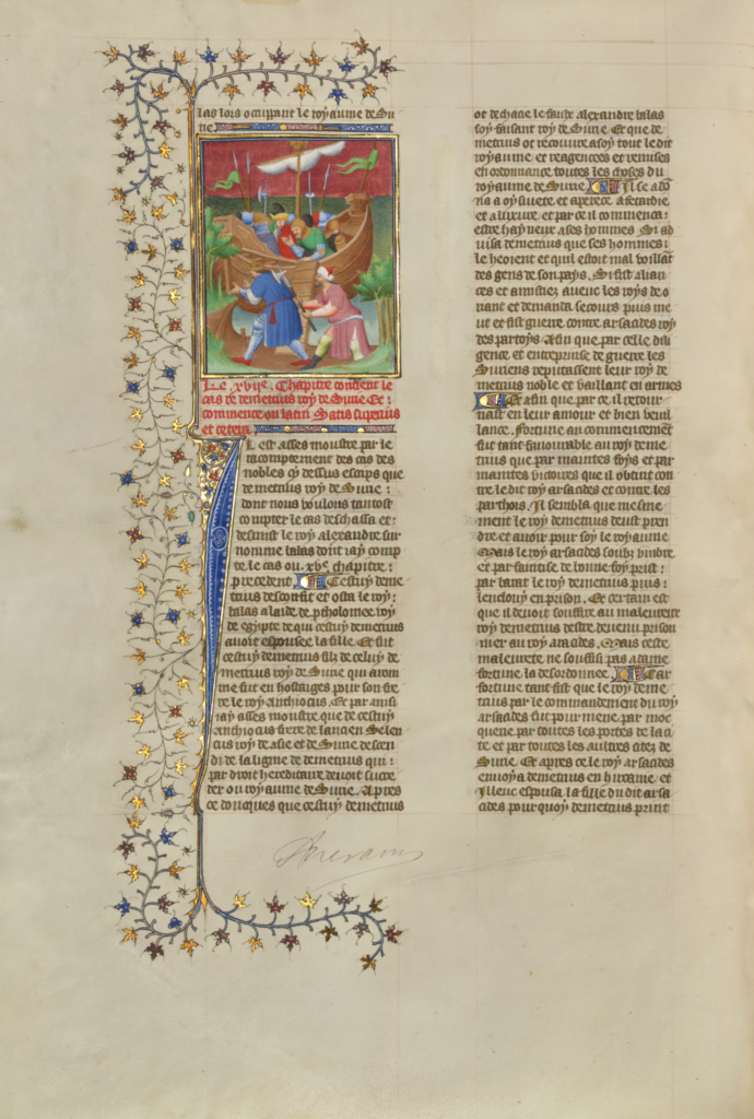 Demetrius Nicator, King of Syria, Killed as He Attempts to Land at Tyre; Unknown; about 1413–1415; Tempera colors, gold leaf, gold paint, and ink on parchment; Leaf: 42 × 29.6 cm (16 9/16 × 11 5/8 in.); Ms. 63 (96.MR.17), fol. 165v; Rights Statement: No Copyright - United States