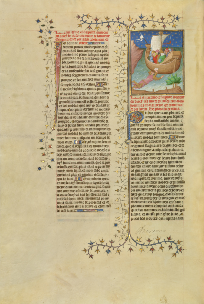 Julius Caesar, Escaping from the Island of Pharos, Swims to a Boat while Holding a Letter; Boucicaut Master or workshop (French, active about 1390 - 1430); Paris, France; about 1413–1415; Tempera colors, gold leaf, gold paint, and ink; Leaf: 42 × 29.6 cm (16 9/16 × 11 5/8 in.); Ms. 63 (96.MR.17), fol. 198v; The J. Paul Getty Museum, Los Angeles, Ms. 63, fol. 198v; Rights Statement: No Copyright - United States