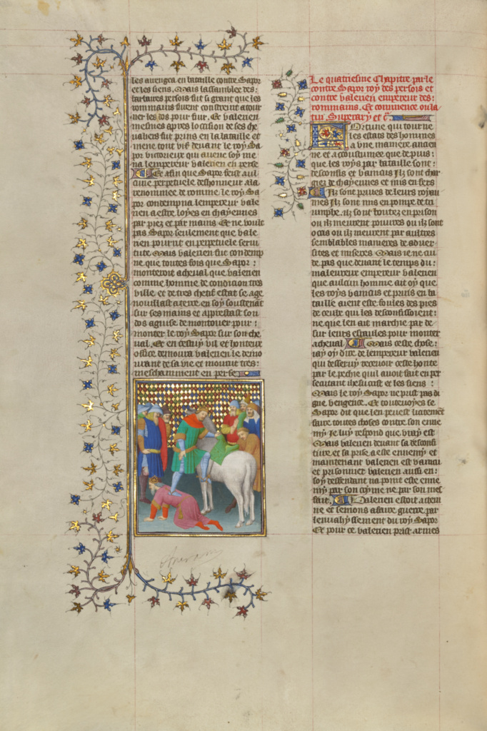 Shapur, King of Persia, Humiliates the Roman Emperor Valerian; Boucicaut Master or workshop (French, active about 1390 - 1430); Paris, France; about 1413–1415; Tempera colors, gold leaf, gold paint, and ink; Leaf: 42 × 29.6 cm (16 9/16 × 11 5/8 in.); Ms. 63 (96.MR.17), fol. 249v; The J. Paul Getty Museum, Los Angeles, Ms. 63, fol. 249v; Rights Statement: No Copyright - United States
