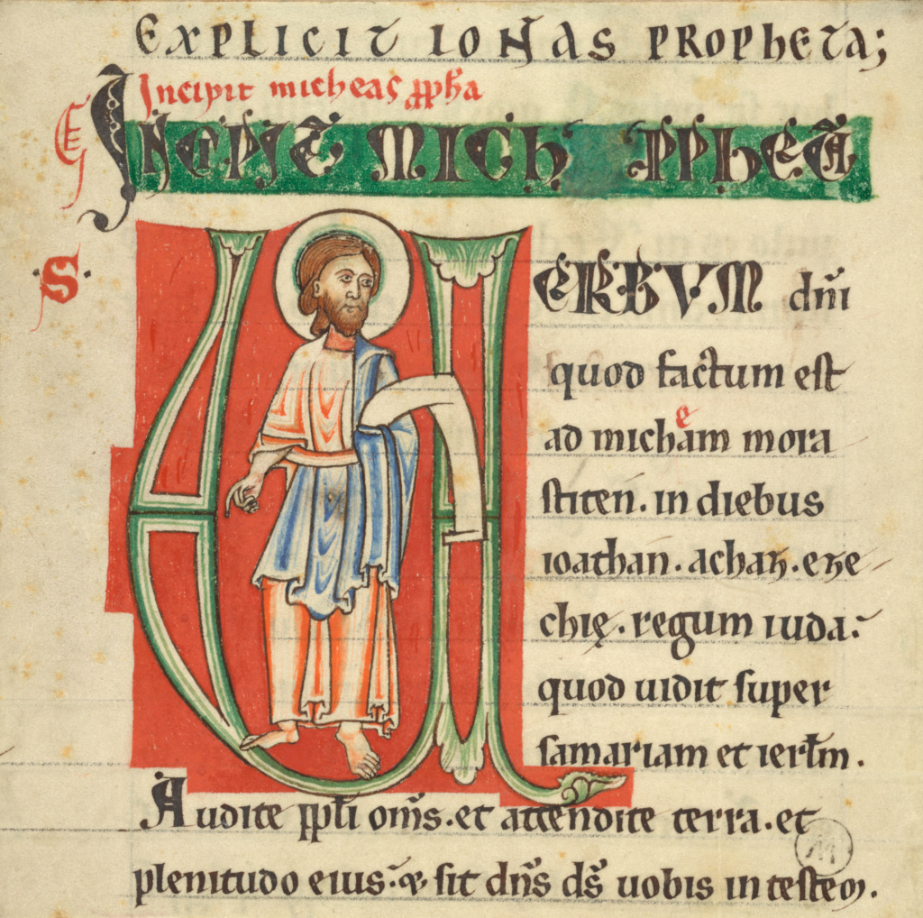 Initial V: Micah; Unknown; about 1131–1165; Tempera colors and ink on parchment, laid down on paper; Leaf: 13.7 × 13.5 cm (5 3/8 × 5 5/16 in.); Ms. 38 (89.MS.45), recto; Rights Statement: No Copyright - United States
