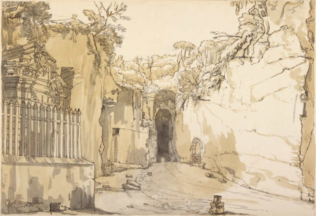 The Entrance to the Grotto at Posillipo; Claude-Joseph Vernet (French, 1714 - 1789); about 1750; Pen and brown ink, with brown and gray wash, over black chalk; 34.4 × 48.9 cm (13 9/16 × 19 1/4 in.); 97.GG.53; Rights Statement: No Copyright - United States