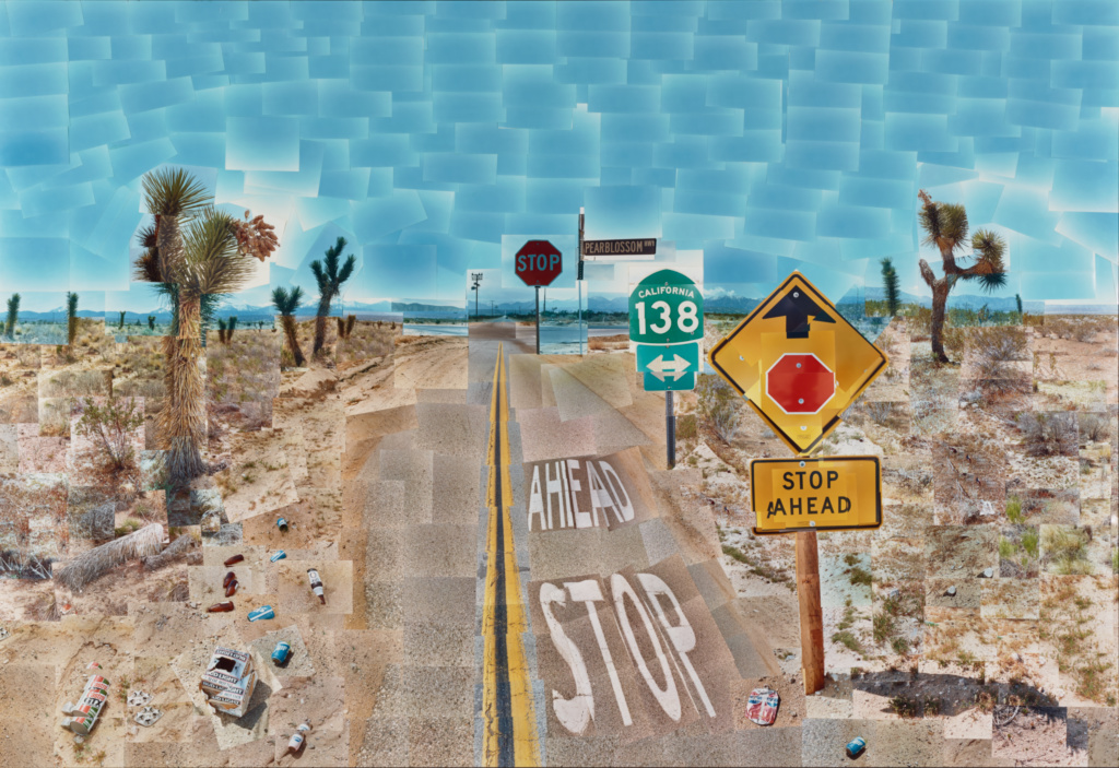 Pearblossom Hwy., 11 - 18th April 1986, #2; David Hockney (British, born 1937); California, United States; April 11-18, 1986; Chromogenic print; 181.6 × 271.8 cm (71 1/2 × 107 in.); 97.XM.39; The J. Paul Getty Museum, Los Angeles; Rights Statement: In Copyright; Copyright: © 1986 David Hockney