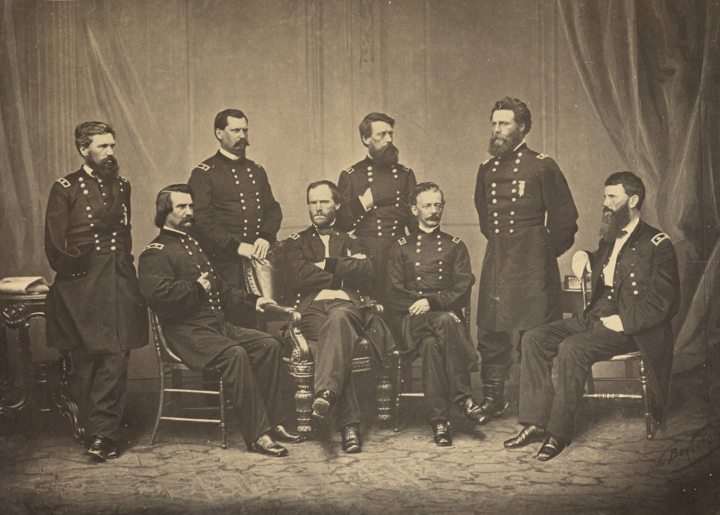 Sherman and His Generals; George N. Barnard (American, 1819 - 1902); New York, United States; negative about 1865; print 1866; Albumen silver print; 25.6 × 35.9 cm (10 1/16 × 14 1/8 in.); 84.XO.1323.1; The J. Paul Getty Museum, Los Angeles; Rights Statement: No Copyright - United States