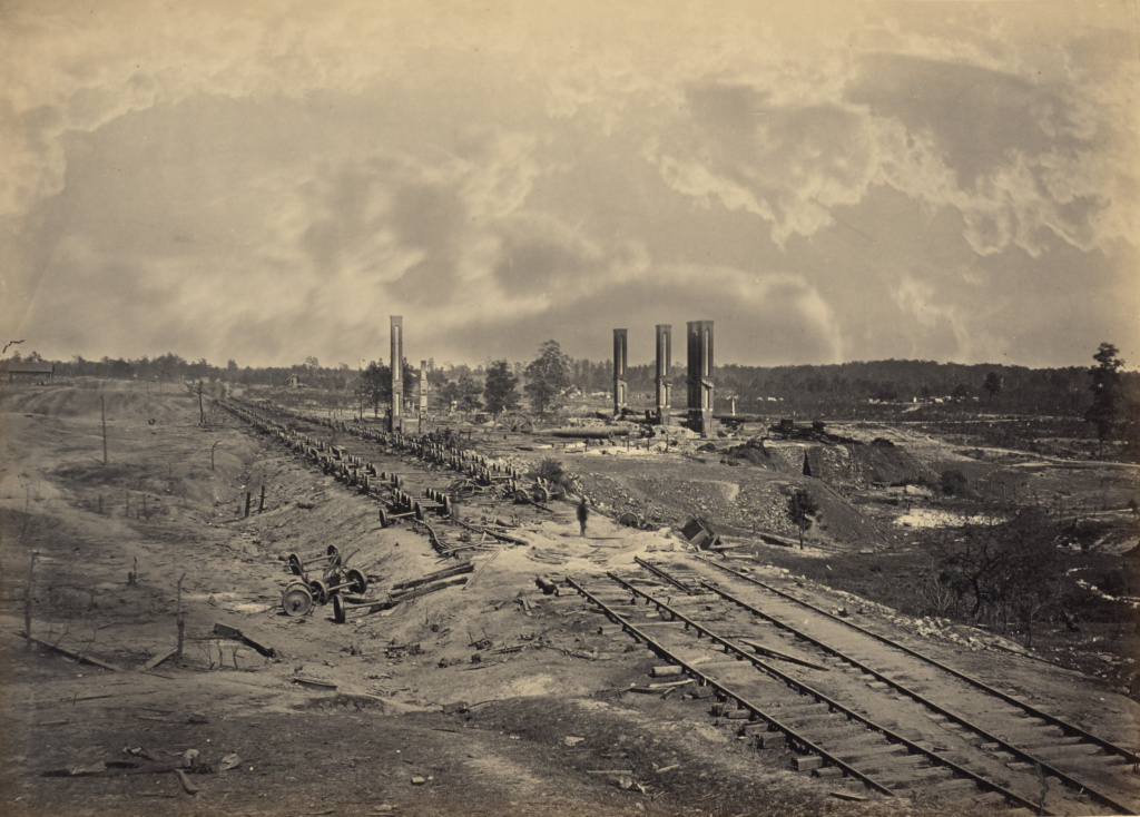 Destruction of Hood's Ordinance Train; George N. Barnard (American, 1819 - 1902); New York, United States; 1864; Albumen silver print; 25.4 × 35.6 cm (10 × 14 in.); 84.XO.1323.44; The J. Paul Getty Museum, Los Angeles; Rights Statement: No Copyright - United States
