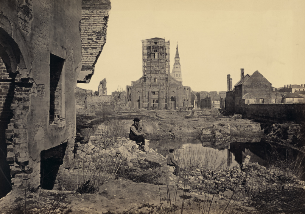 Ruins in Charleston, South Carolina; George N. Barnard (American, 1819 - 1902); New York, United States; negative about 1865; print 1866; Albumen silver print; 25.6 × 35.6 cm (10 1/16 × 14 in.); 84.XO.1323.60; The J. Paul Getty Museum, Los Angeles; Rights Statement: No Copyright - United States