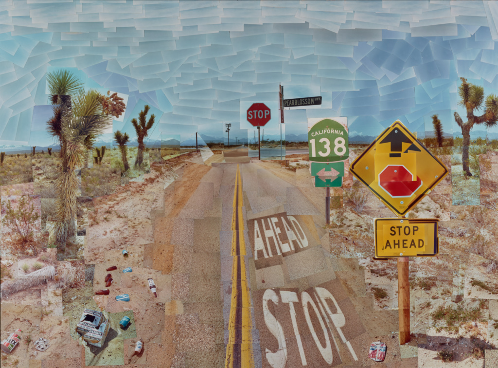Pearblossom Hwy., 11 - 18th April 1986, #1; David Hockney (British, born 1937); California, United States; 1986; Chromogenic print; 119.1 × 162.9 cm (46 7/8 × 64 1/8 in.); 97.XM.44; The J. Paul Getty Museum, Los Angeles, Gift of David Hockney; Rights Statement: In Copyright; Copyright: © 1986 David Hockney