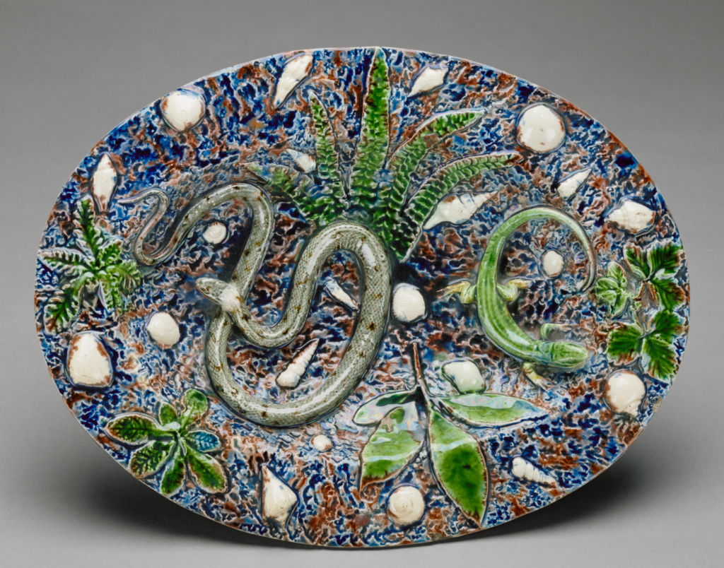 Oval Plate; Attributed to Bernard Palissy (French, about 1510 - 1590); France; mid-16th century; Lead-glazed earthenware; 6.2 × 33 × 25.3 cm (2 7/16 × 13 × 9 15/16 in.); 97.DE.46; The J. Paul Getty Museum, Los Angeles, Gift of Mr. and Mrs. Alain Moatti in honor of Peter Fusco; Rights Statement: No Copyright - United States