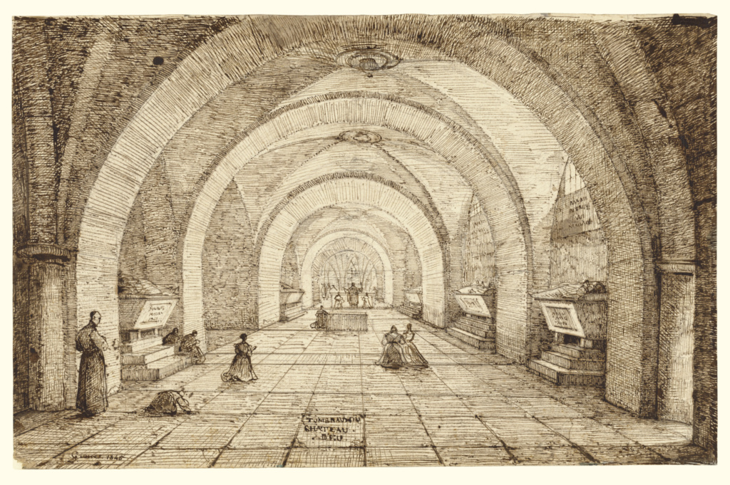 Interior of the Tomb of Louis Phillippe and the Orléans Family; François-Marius Granet (French, 1775 - 1849); France; 1845; Pen and brown ink over graphite; 22.7 × 35.4 cm (8 15/16 × 13 15/16 in.); 97.GG.76; The J. Paul Getty Museum, Los Angeles, Gift of Deborah and Joseph Goldyne in honor of Nicholas Turner; Rights Statement: No Copyright - United States