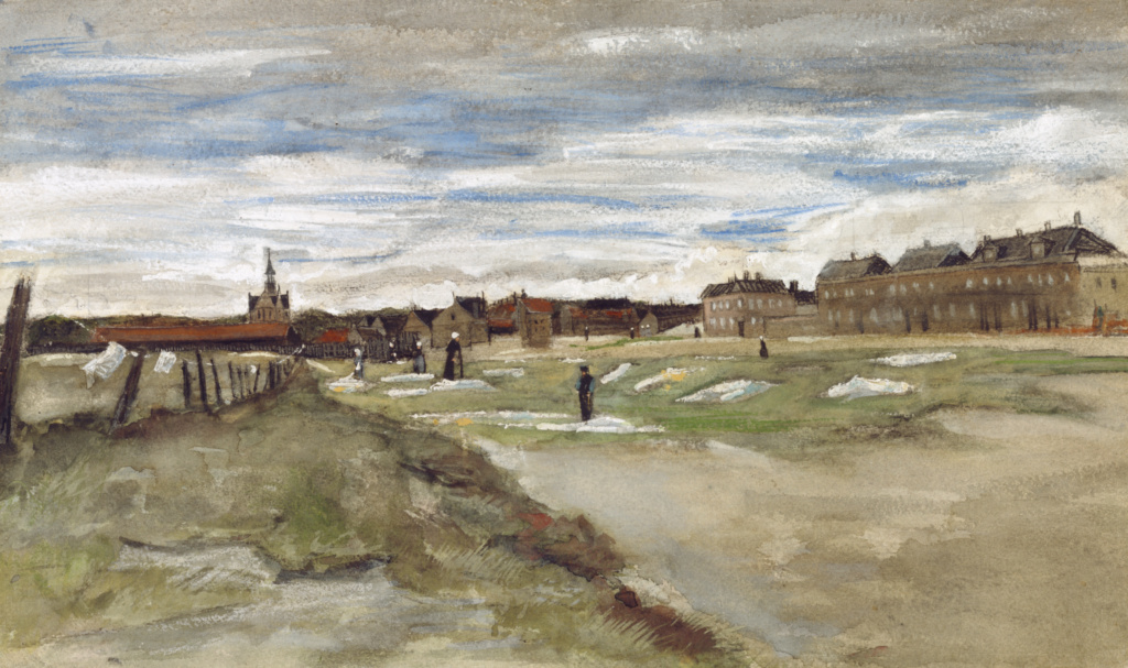 """""""Blanchisserie à Scheveningen"""" Bleachery at Scheveningen (recto); """"Femme de Scheveningen"""" Woman from Scheveningen (verso); Vincent van Gogh (Dutch, 1853 - 1890); 1882; Watercolor heightened with white gouache; 31.8 × 54 cm (12 1/2 × 21 1/4 in.); 98.GC.2; The J. Paul Getty Museum, Los Angeles; Rights Statement: No Copyright - United States"""
