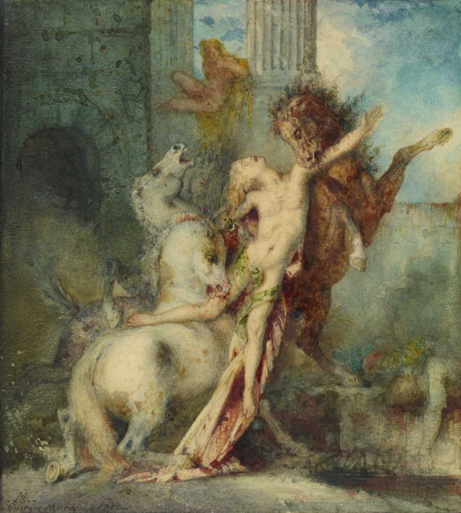 Diomedes Devoured by Horses; Gustave Moreau (French, 1826 - 1898); France; 1866; Watercolor over graphite; 21.4 × 19.7 cm (8 7/16 × 7 3/4 in.); 98.GC.153; The J. Paul Getty Museum, Los Angeles; Rights Statement: No Copyright - United States
