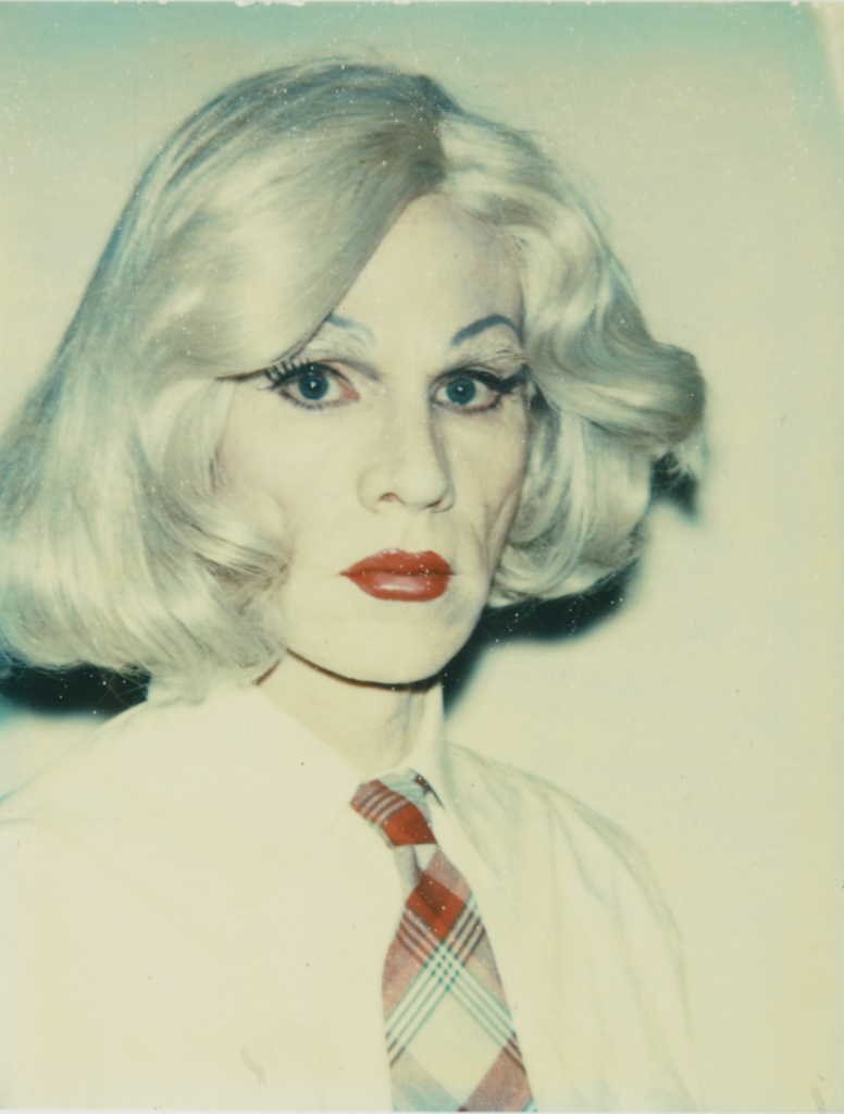 Self-portrait in Drag; Andy Warhol (American, 1928 - 1987); United States; 1981–1982; Polaroid dye diffusion print; 9.5 × 7.3 cm (3 3/4 × 2 7/8 in.); 98.XM.5.2; The J. Paul Getty Museum, Los Angeles; Rights Statement: In Copyright; Copyright: © The Andy Warhol Foundation for the Visual Arts, Inc.