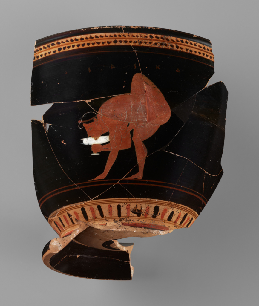 Fragmentary Skyphos; Attributed to near the Theseus Painter (Greek (Attic), active about 510 - about 490 B.C.), Attributed to the Heron Class (Greek (Attic), active 520 - 480 B.C.); about 500 B.C.; Terracotta; 15.8 × 12 × 14 cm (6 1/4 × 4 3/4 × 5 1/2 in.); 76.AE.127.a; Gift of Lynda and Max Palevsky; Rights Statement: No Copyright - United States