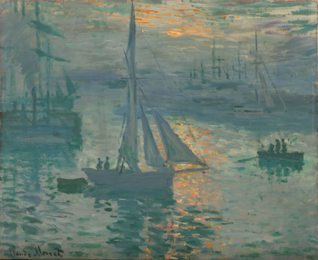 Sunrise (Marine); Claude Monet (French, 1840 - 1926); 1872 or 1873; Oil on canvas; 50.2 × 61 cm (19 3/4 × 24 in.); 98.PA.164; Rights Statement: No Copyright - United States