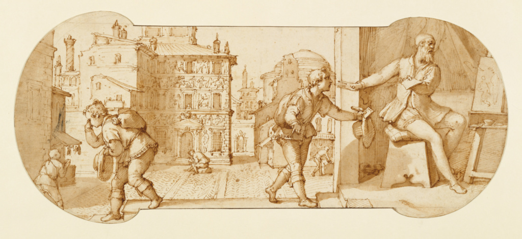Taddeo Rebuffed by Francesco Il Sant'Angelo; Federico Zuccaro (Italian, about 1541 - 1609); about 1595; Pen and brown ink, brush with brown wash, over black chalk; 17.9 × 41.5 cm (7 1/16 × 16 5/16 in.); 99.GA.6.5; The J. Paul Getty Museum, Los Angeles; Rights Statement: No Copyright - United States