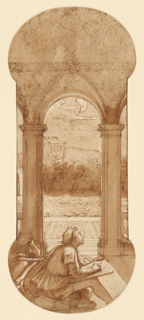 Taddeo Copying Raphael's Frescoes in the Loggia of the Villa Farnesina, Where He is Also Represented Asleep; Federico Zuccaro (Italian, about 1541 - 1609); about 1595; Pen and brown ink, brush with brown wash, over black chalk and touches of red chalk; 42.4 × 17.5 cm (16 11/16 × 6 7/8 in.); 99.GA.6.13; Rights Statement: No Copyright - United States