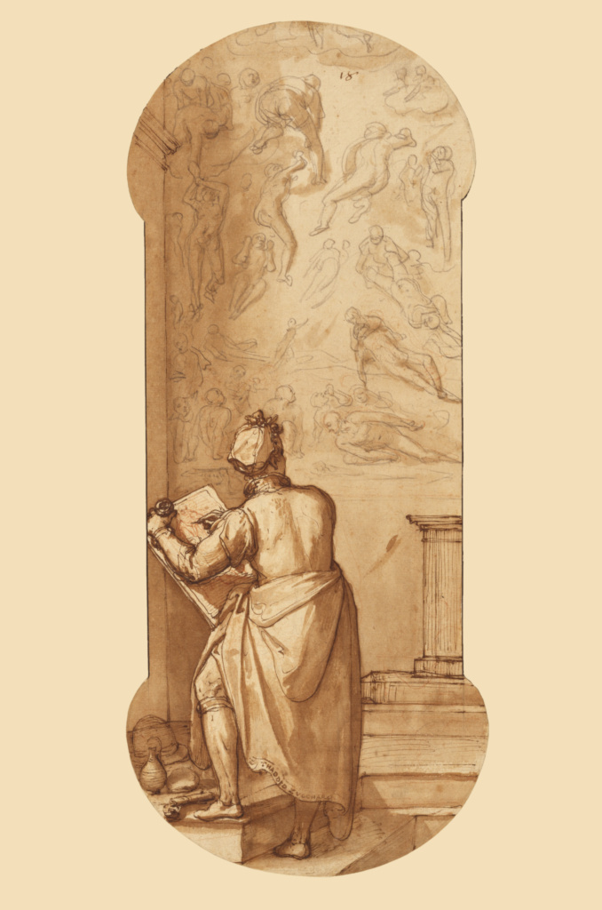 Taddeo in the Sistine Chapel Drawing Michelangelo's Last Judgment; Federico Zuccaro (Italian, about 1541 - 1609); about 1595; Pen and brown ink, brush with brown wash, over black chalk and touches of red chalk; 41.9 × 17.7 cm (16 1/2 × 6 15/16 in.); 99.GA.6.18; The J. Paul Getty Museum, Los Angeles; Rights Statement: No Copyright - United States
