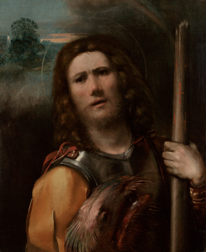 Saint George; Dosso Dossi (Giovanni di Niccolò de Lutero) (Italian (Ferrarese), about 1490 - 1542); Italy; about 1513–1515; Oil on panel; 70.2 × 61 cm (27 5/8 × 24 in.); 99.PB.4; The J. Paul Getty Museum, Los Angeles; Rights Statement: No Copyright - United States