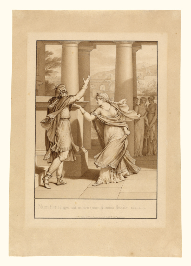 """Dido Excoriates Aeneas, from Book IV of the """"Aeneid""""; Jean-Michel Moreau le jeune (French, 1741 - 1814); 1803; Pen and brown ink and brown wash; 22.2 × 15.6 cm (8 3/4 × 6 1/8 in.); 99.GA.28; The J. Paul Getty Museum, Los Angeles; Rights Statement: No Copyright - United States"""
