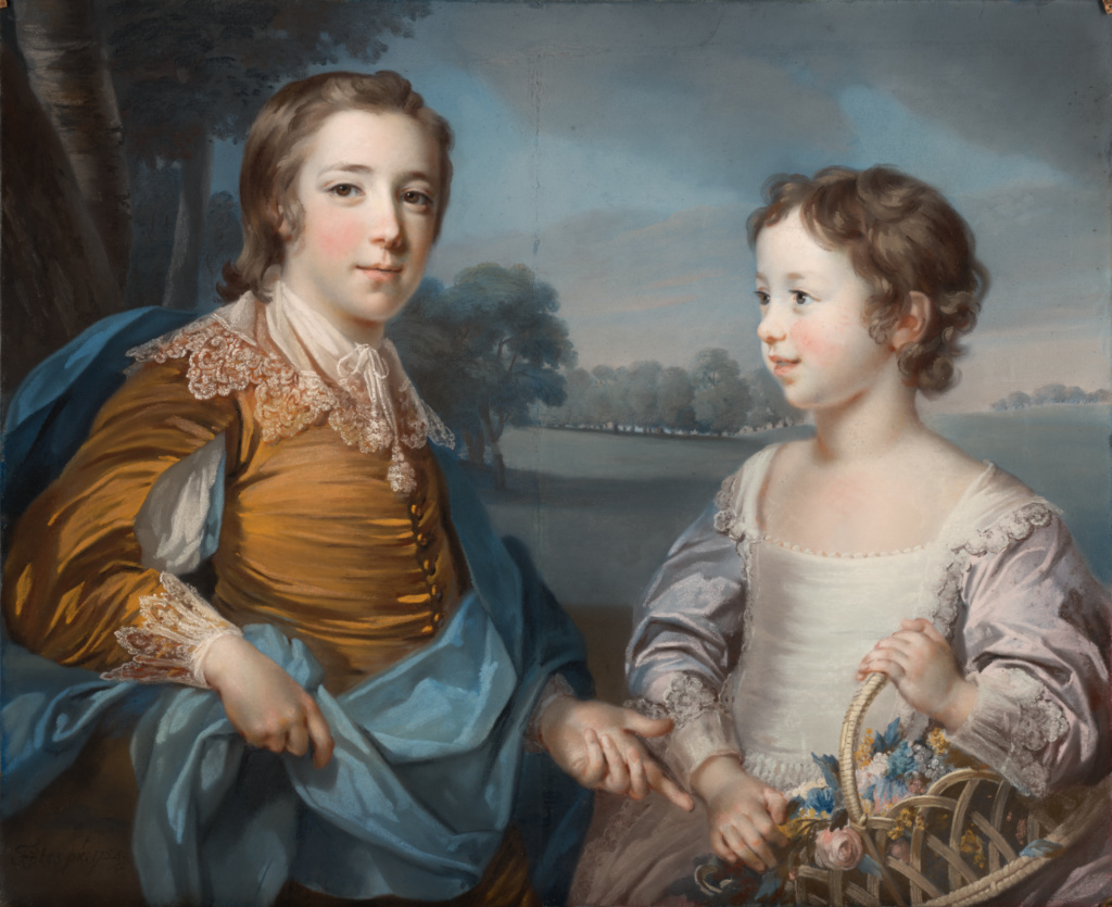 Portrait of Joseph (1741-1786) and his Brother John Gulston (1750-1764); Francis Cotes (English, 1726 - 1770); 1754; Pastel on blue paper, mounted on canvas; 67.3 × 82.6 cm (26 1/2 × 32 1/2 in.); 99.PC.33; The J. Paul Getty Museum, Los Angeles; Rights Statement: No Copyright - United States