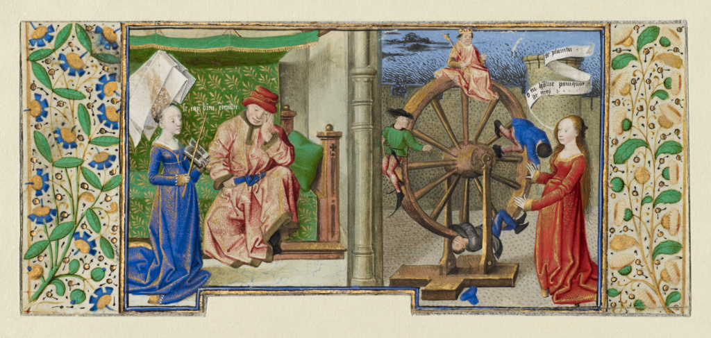 Philosophy Consoling Boethius and Fortune Turning the Wheel; Coëtivy Master (Henri de Vulcop?) (French, active about 1450 - 1485); Paris, France; about 1460–1470; Tempera colors, gold leaf, and gold paint; Leaf: 7.3 × 17 cm (2 7/8 × 6 11/16 in.); Ms. 42, leaf 1v (91.MS.11.1.verso); The J. Paul Getty Museum, Los Angeles, Ms. 42, leaf 1v; Rights Statement: No Copyright - United States
