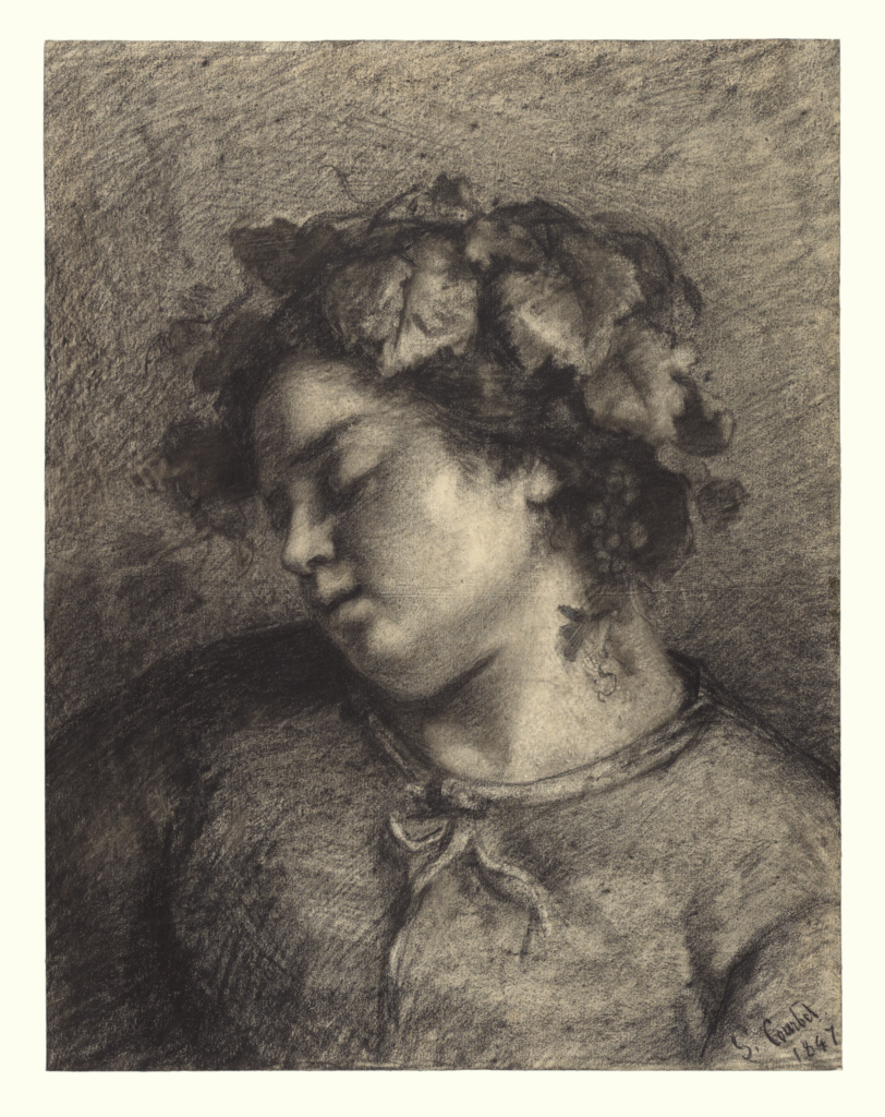 Head of a Sleeping Bacchante; Gustave Courbet (French, 1819 - 1877); 1847; Fabricated black chalk with stumping, lifting, and scratching on laid paper; 50.2 × 38.7 cm (19 3/4 × 15 1/4 in.); 99.GE.43; Rights Statement: No Copyright - United States
