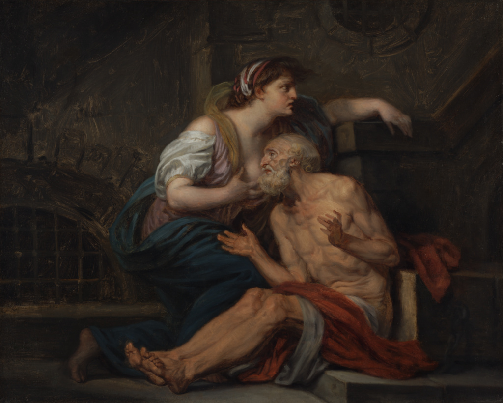 "Cimon and Pero: ""Roman Charity""; Jean-Baptiste Greuze (French, 1725 - 1805); France; about 1767; Oil on canvas; 65.4 × 81.4 cm (25 3/4 × 32 1/16 in.); 99.PA.24; The J. Paul Getty Museum, Los Angeles; Rights Statement: No Copyright - United States"
