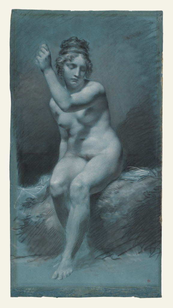 Study of a Female Nude; Pierre-Paul Prud'hon (French, 1758 - 1823); about 1800; Black and white chalk with stumping on blue paper; 60.3 × 31.8 cm (23 3/4 × 12 1/2 in.); 99.GB.49; The J. Paul Getty Museum, Los Angeles; Rights Statement: No Copyright - United States