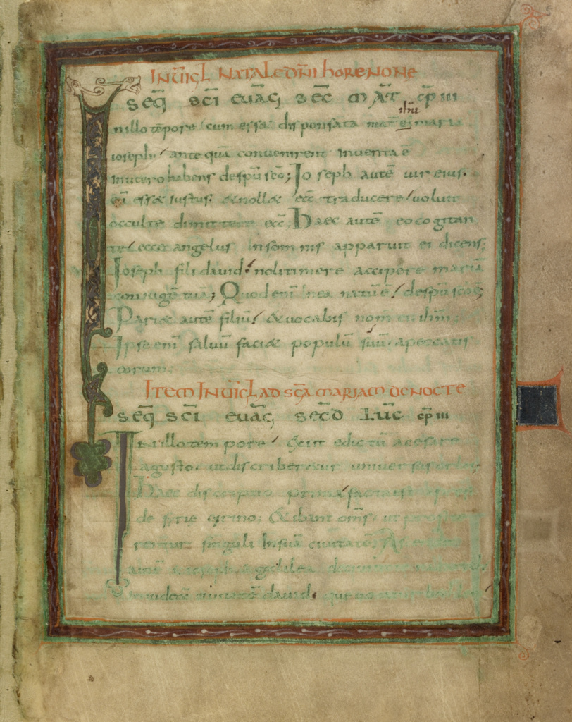 Leaves from a Gospel Lectionary; Unknown; early 9th century; Tempera colors and gold and silver paint on parchment; fols. 1 - 4 stained purple; disbound; Ms. Ludwig IV 1 (83.MD.73); Rights Statement: No Copyright - United States