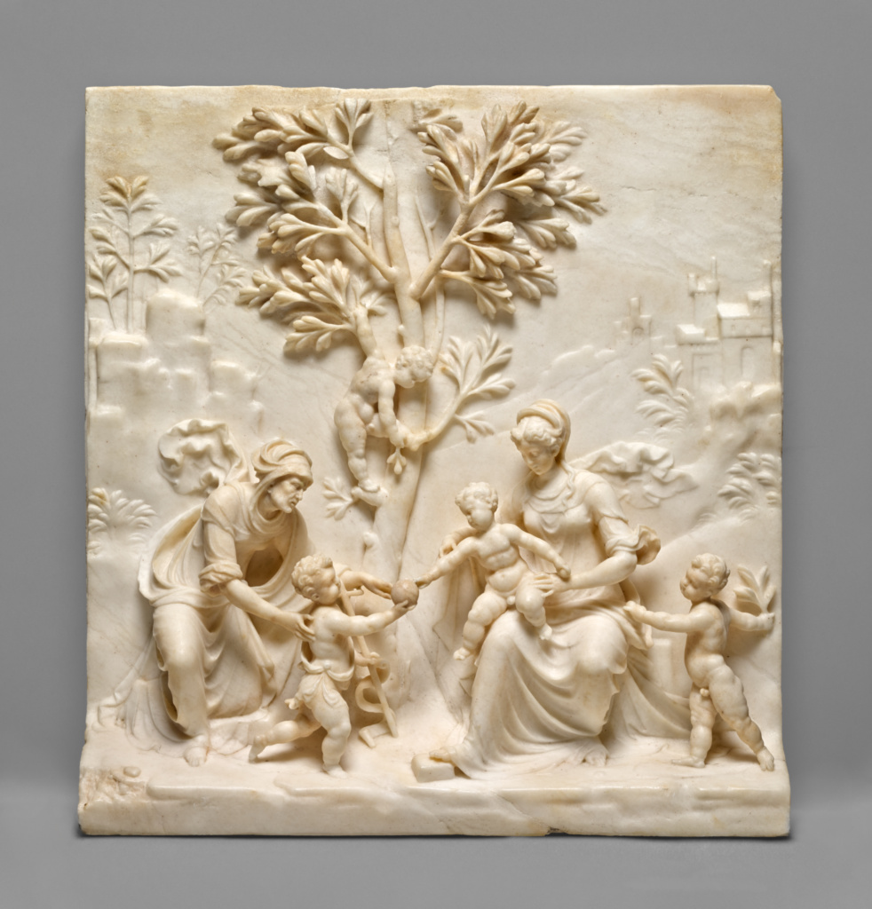 The Virgin and Child with Saint Elizabeth and the Young Saint John the Baptist; Benedetto Cervi (Italian, active about 1520 - 1540); Italy; 1520s–1530s; Marble; 29.2 × 27.9 × 7.5 cm (11 1/2 × 11 × 2 15/16 in.); 2000.19; The J. Paul Getty Museum, Los Angeles; Rights Statement: No Copyright - United States