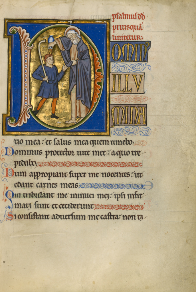 Initial D: Samuel Anointing David; Master of the Ingeborg Psalter (French, active about 1195 - about 1210); Noyon (probably), France; after 1205; Tempera colors and gold leaf; Leaf: 31 × 21.9 cm (12 3/16 × 8 5/8 in.); Ms. 66 (99.MK.48), fol. 27; The J. Paul Getty Museum, Los Angeles, Ms. 66, fol. 27; Rights Statement: No Copyright - United States