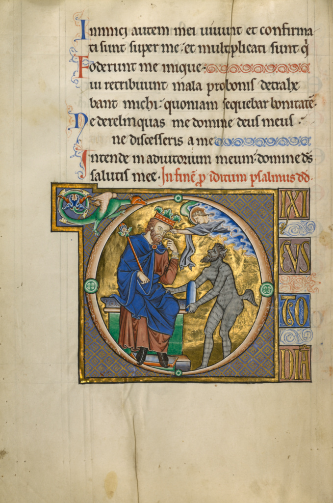 Initial D: David Pointing to His Mouth; Master of the Ingeborg Psalter (French, active about 1195 - about 1210); Noyon (probably), France; after 1205; Tempera colors and gold leaf on parchment; Leaf: 31 × 21.9 cm (12 3/16 × 8 5/8 in.); Ms. 66 (99.MK.48), fol. 41v; The J. Paul Getty Museum, Los Angeles, Ms. 66, fol. 41v; Rights Statement: No Copyright - United States