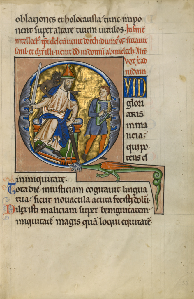 Initial Q: David Before Saul; Master of the Ingeborg Psalter (French, active about 1195 - about 1210); Noyon (probably), France; after 1205; Tempera colors and gold leaf; Leaf: 31 × 21.9 cm (12 3/16 × 8 5/8 in.); Ms. 66 (99.MK.48), fol. 55; The J. Paul Getty Museum, Los Angeles, Ms. 66, fol. 55; Rights Statement: No Copyright - United States