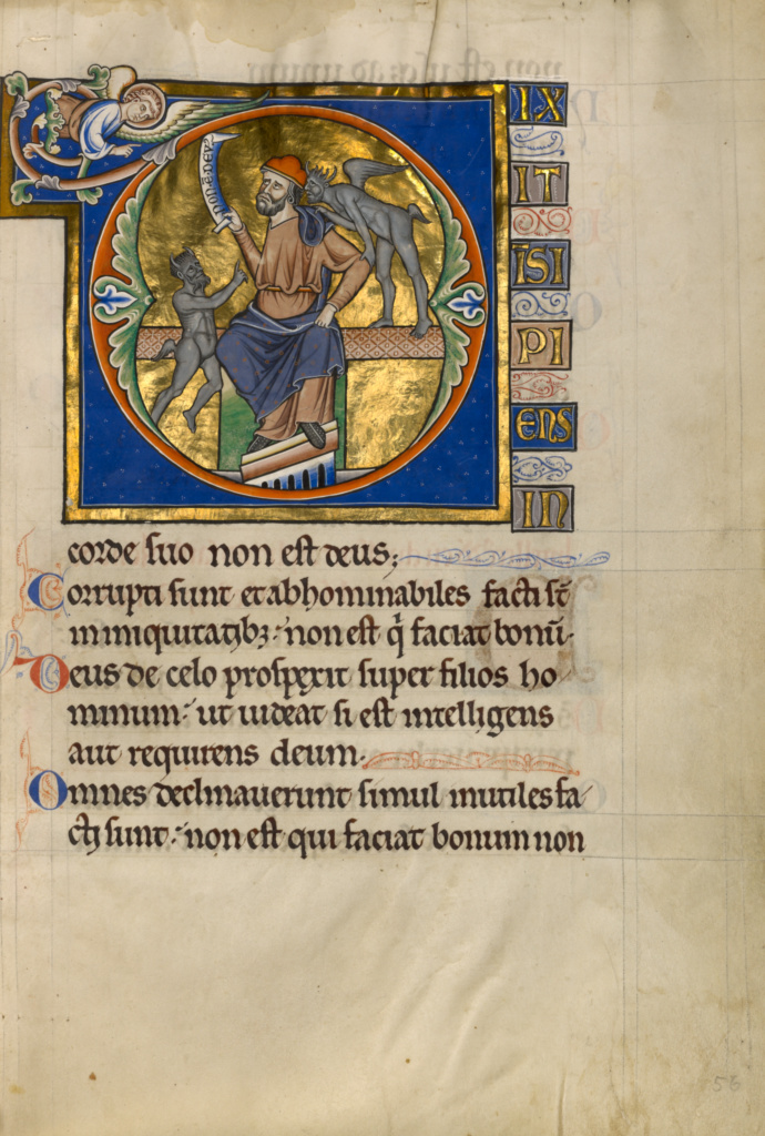 Initial D: The Fool with Two Demons; Master of the Ingeborg Psalter (French, active about 1195 - about 1210); Noyon (probably), France; after 1205; Tempera colors and gold leaf on parchment; Leaf: 31 × 21.9 cm (12 3/16 × 8 5/8 in.); Ms. 66 (99.MK.48), fol. 56; The J. Paul Getty Museum, Los Angeles, Ms. 66, fol. 56; Rights Statement: No Copyright - United States