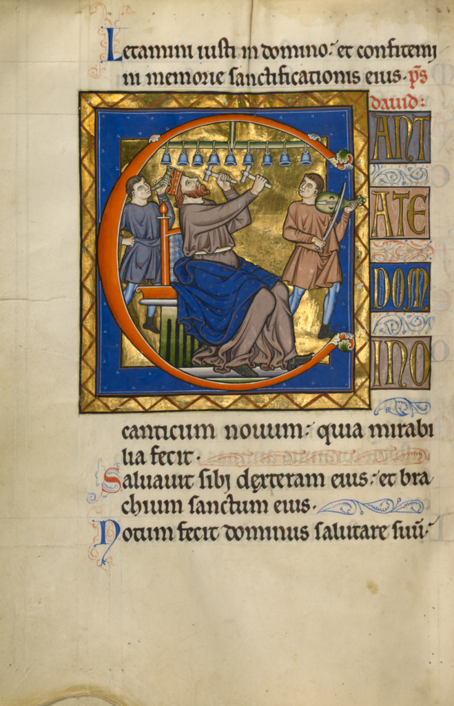 Initial C: David Playing Bells; Master of the Ingeborg Psalter (French, active about 1195 - about 1210); Noyon (probably), France; after 1205; Tempera colors and gold leaf on parchment; Leaf: 31 × 21.9 cm (12 3/16 × 8 5/8 in.); Ms. 66 (99.MK.48), fol. 105v; The J. Paul Getty Museum, Los Angeles, Ms. 66, fol. 105v; Rights Statement: No Copyright - United States