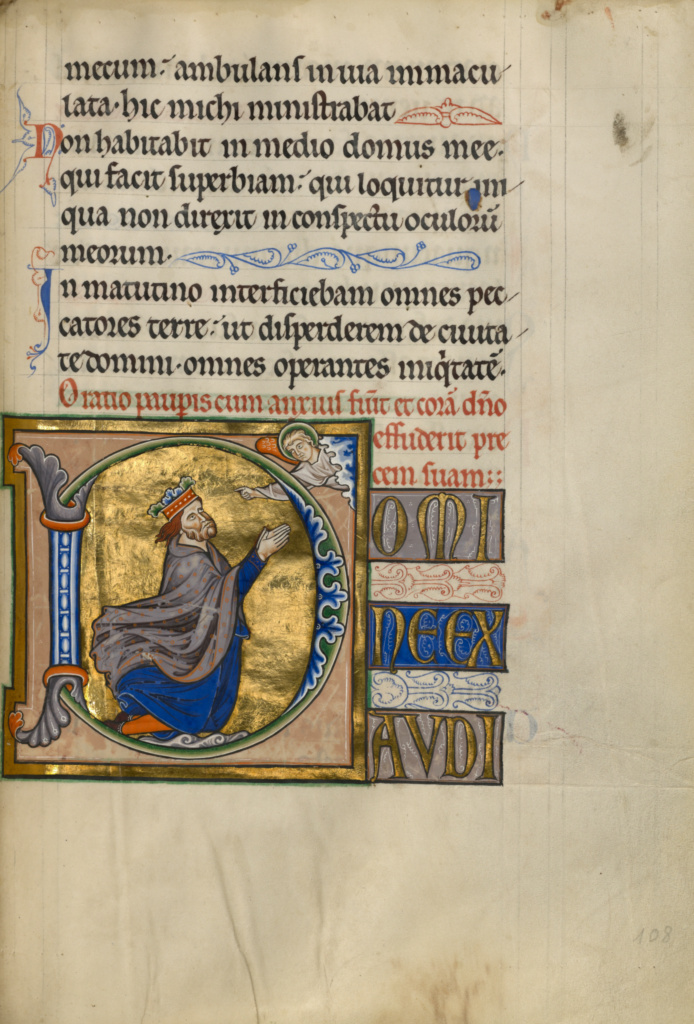 Psalter; Master of the Ingeborg Psalter (French, active about 1195 - about 1210); after 1205; Tempera colors, gold leaf, and ink on parchment bound between pasteboard covered with brown calf; Leaf: 31 × 21.9 cm (12 3/16 × 8 5/8 in.); Ms. 66 (99.MK.48); Rights Statement: No Copyright - United States