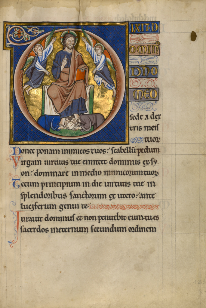 Initial D: Christ Enthroned; Master of the Ingeborg Psalter (French, active about 1195 - about 1210); Noyon (probably), France; after 1205; Tempera colors and gold leaf; Leaf: 31 × 21.9 cm (12 3/16 × 8 5/8 in.); Ms. 66 (99.MK.48), fol. 123; The J. Paul Getty Museum, Los Angeles, Ms. 66, fol. 123; Rights Statement: No Copyright - United States