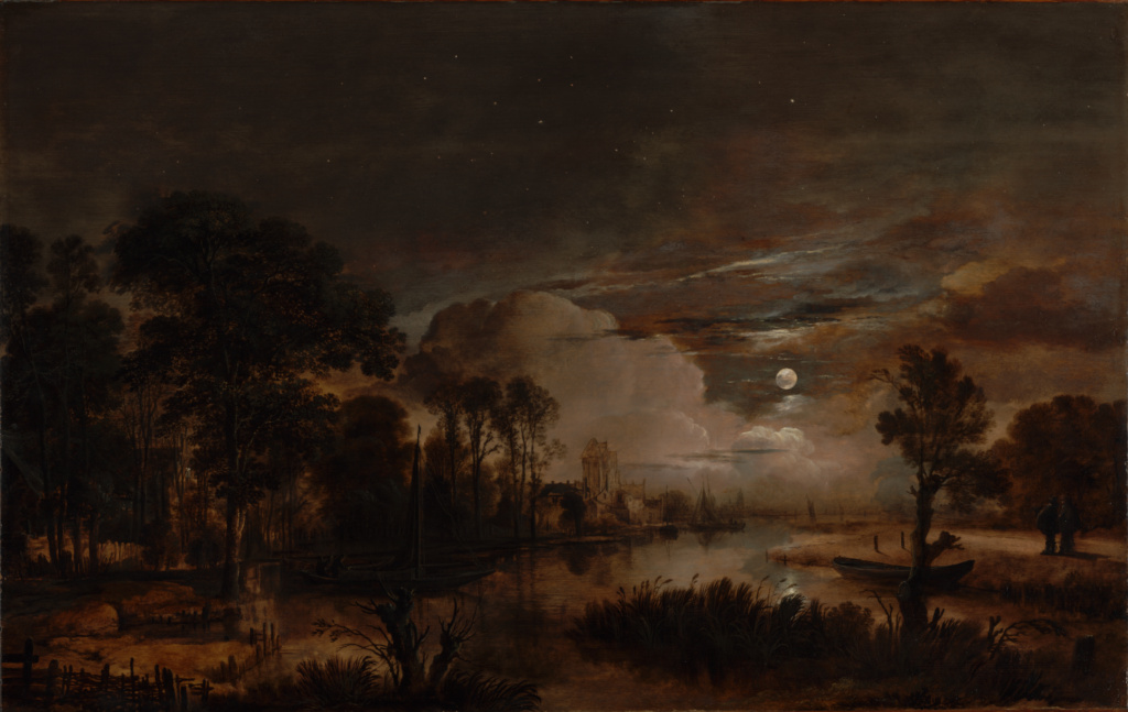 Moonlit Landscape with a View of the New Amstel River and Castle Kostverloren; Aert van der Neer (Dutch, 1603/1604 - 1677); 1647; Oil on panel; 57.5 × 89.9 cm (22 5/8 × 35 3/8 in.); 2000.27; The J. Paul Getty Museum, Los Angeles; Rights Statement: No Copyright - United States